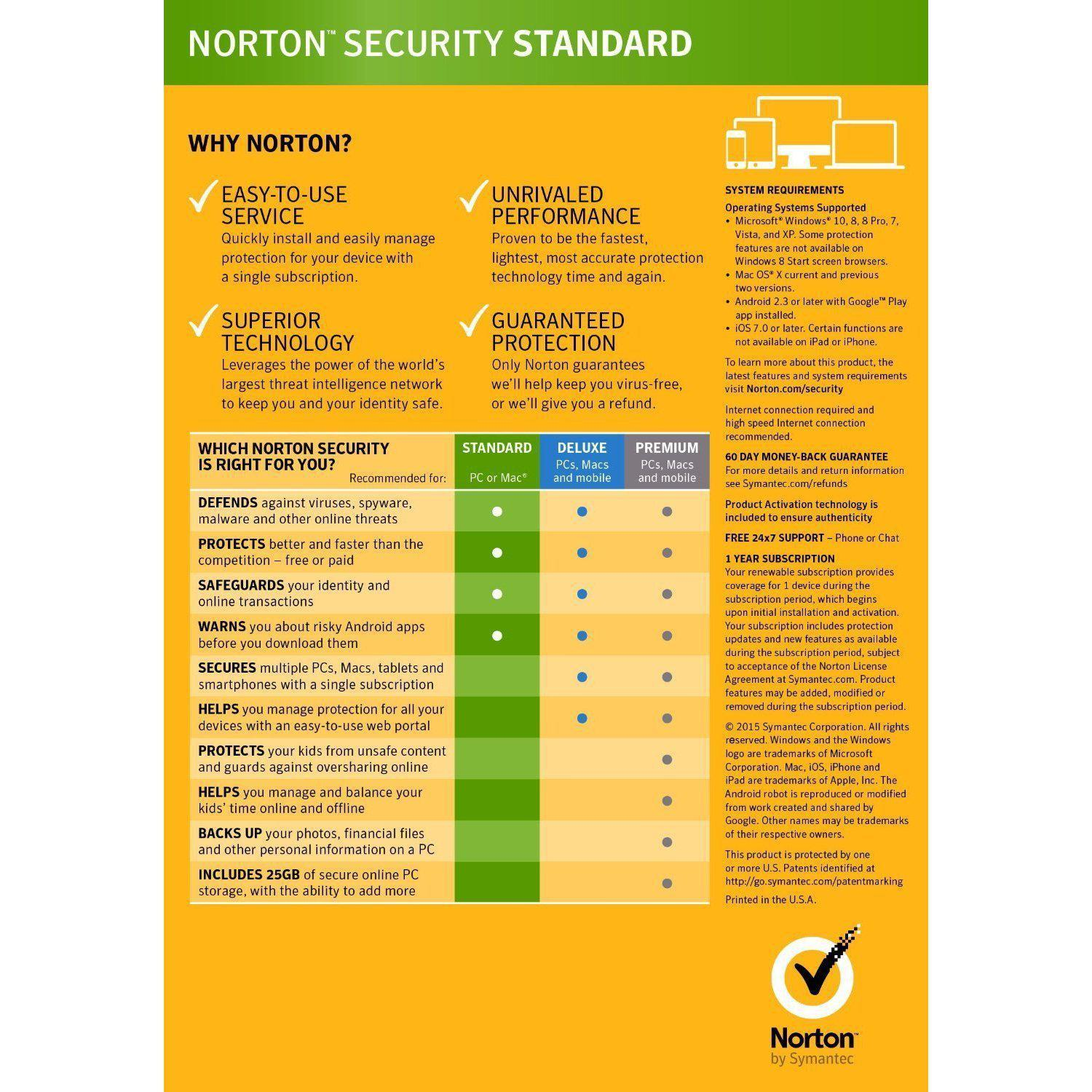 Symantec Norton Security Standard 3.0 OEM For 1 PC or MAC (Download)