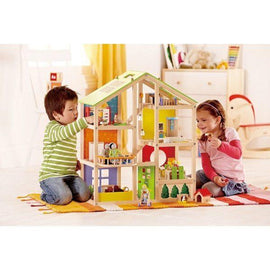 Hape All Seasons Decked Out Dollhouse - Furnished