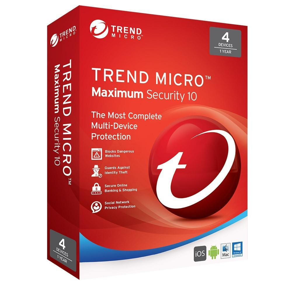 Trend Micro Maximum Security 10 - 4 Devices 1 Year 2016 Retail