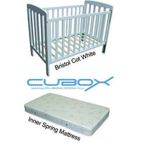 Childcare Bristol Cot White with Mattress - Cubox Australia