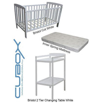 Childcare Bristol Cot White with Mattress and Changing Table (BUNDLE PACK) - Cubox Australia