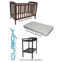 Childcare Bristol Cot Walnut with Mattress and Changing Table (BUNDLE PACK) - Cubox Australia