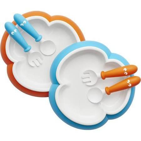 BabyBjorn 2 Sets Plate Spoon and Fork Orange/ Turquoise - Cubox Australia