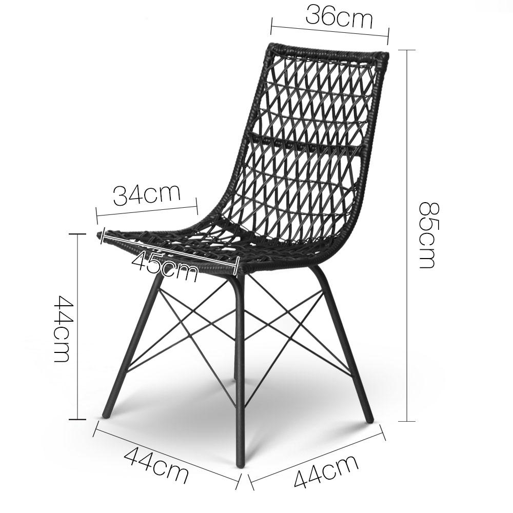 Artiss Set of 4 PE Wicker Dining Chair - Black
