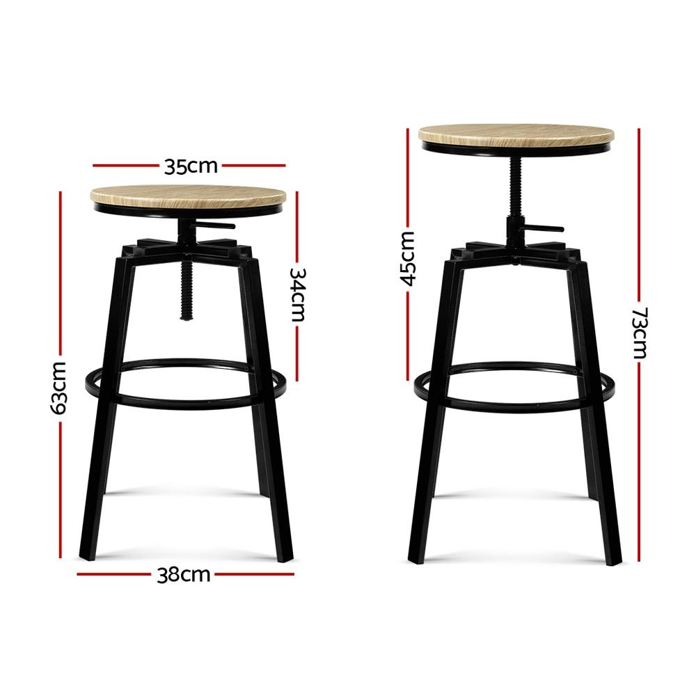 Artiss 2 x Vintage Kitchen Bar Stools Retro Swivel Industrial Bar Stool Rustic