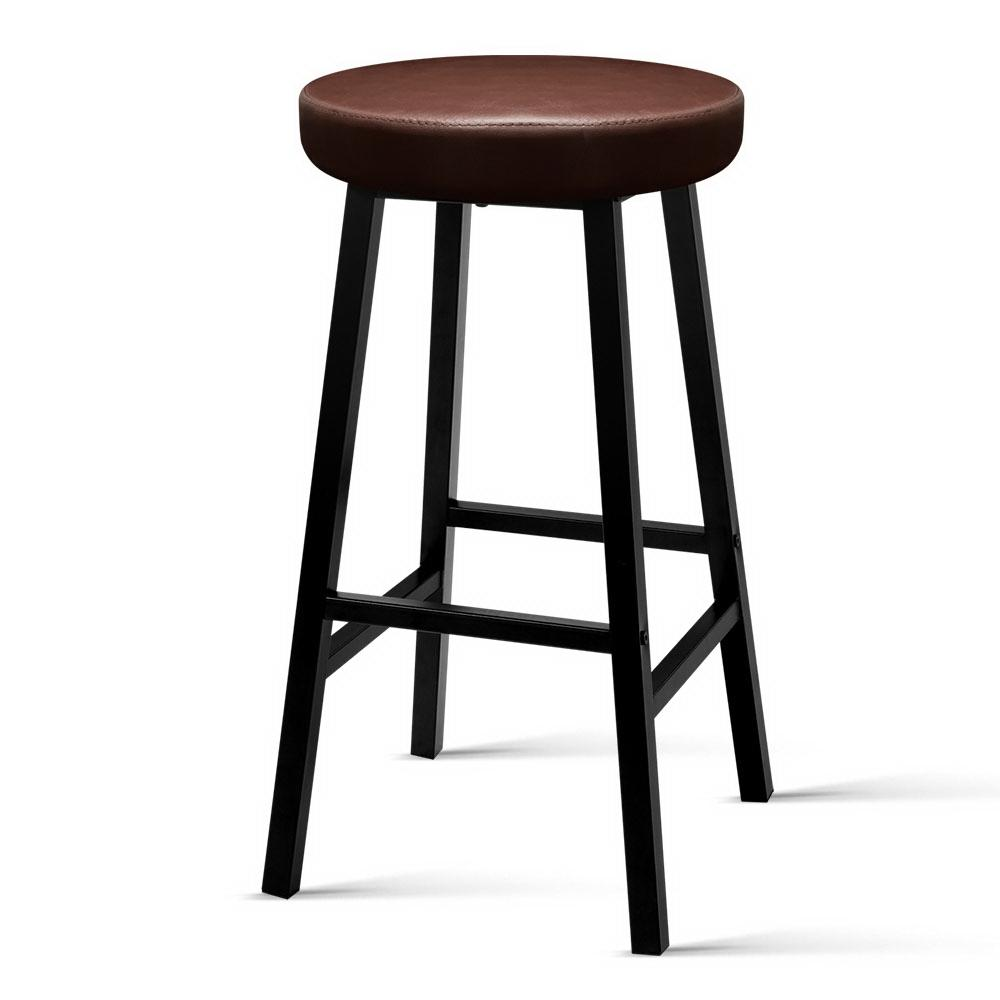 Artiss 2 x Vintage Kitchen Bar Stools Industrial Leather Brown Bar Stool Retro
