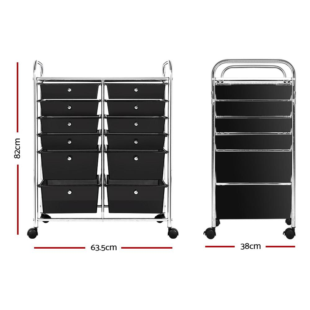 12 Drawer Kithchen Storage Trolley Portable Rolling Cart Black
