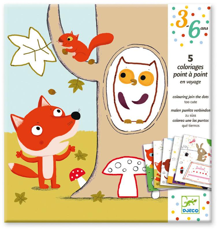 Djeco Too Cute Join Dots Colouring Surprises-Cubox Australia