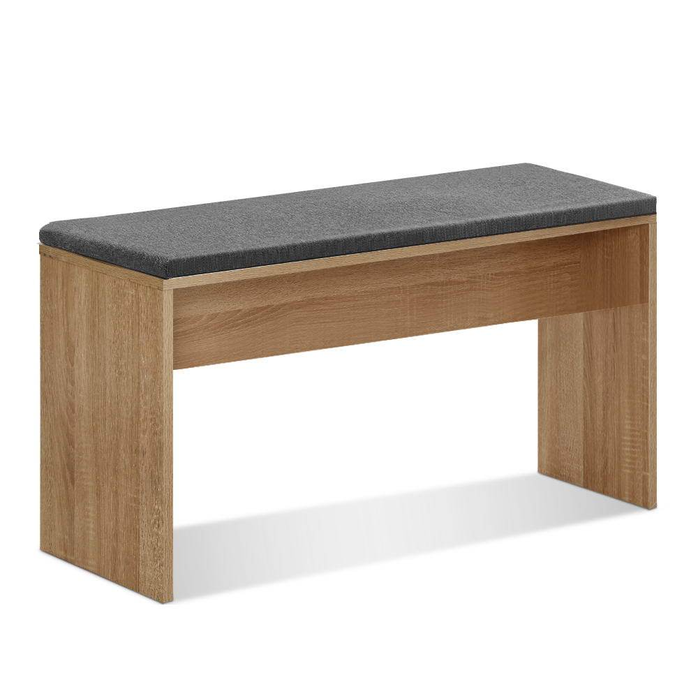 Artiss Dining Bench NATU Upholstery Seat Stool Chair Cushion Kitchen Furniture Oak 90cm