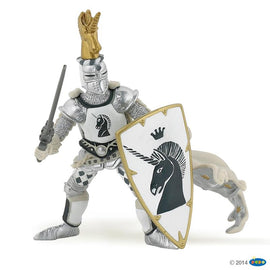 Papo Medieval Era Knight Unicorn Silver-Collectables-Cubox Australia