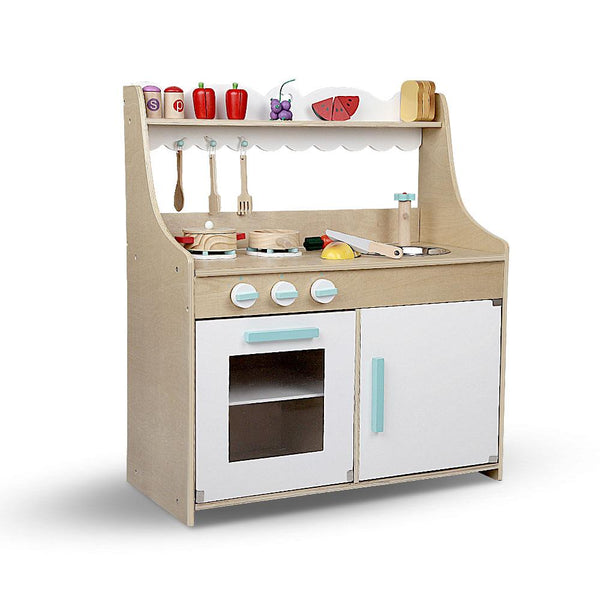 15 Piece Kids Pretend Play Wooden Kitchen Play Set - Natural & White-Cubox Australia