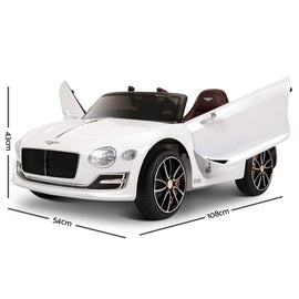 Bentley Style XP12 Electric Toy Car - White-Cubox Australia