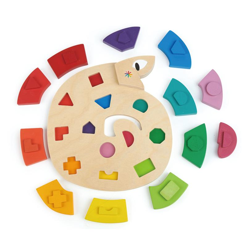 Tender Leaf Toys Colour Me Happy Wooden Worm Puzzle