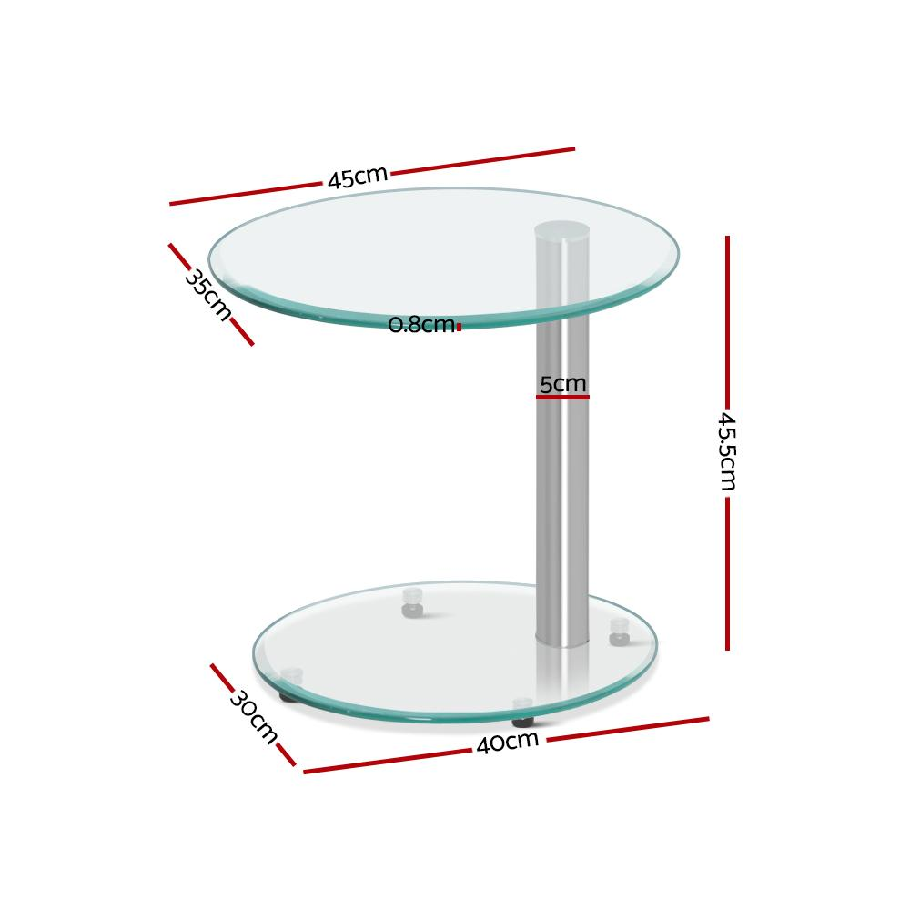 Artiss Side Coffee Table Bedside Furniture Oval Tempered Glass Top 2 Tier
