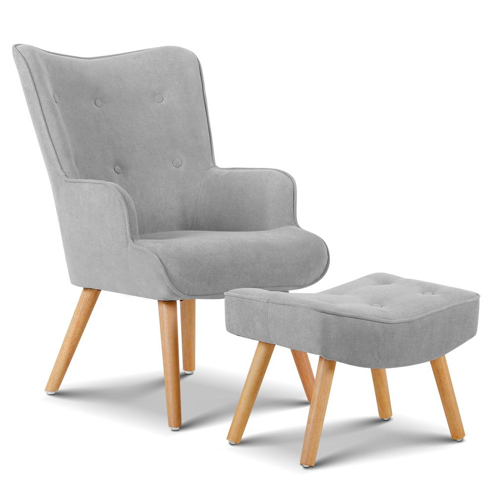 Artiss Armchair and Ottoman - Light Grey