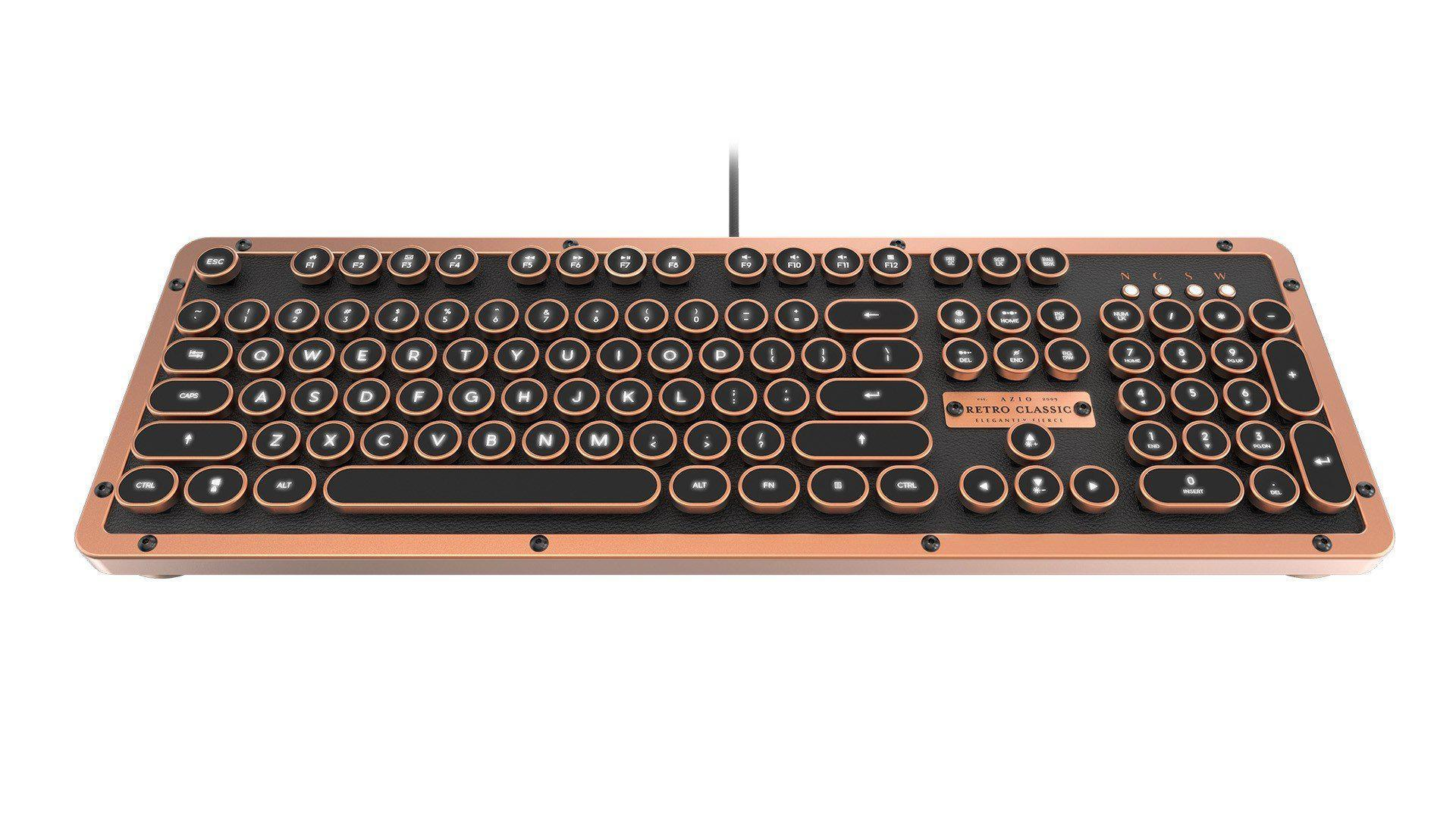 AZIO MK RETRO CLASSIC Vintage Typewriter Backlit Mechanical Keyboard in Copper Alloy Trim and Black