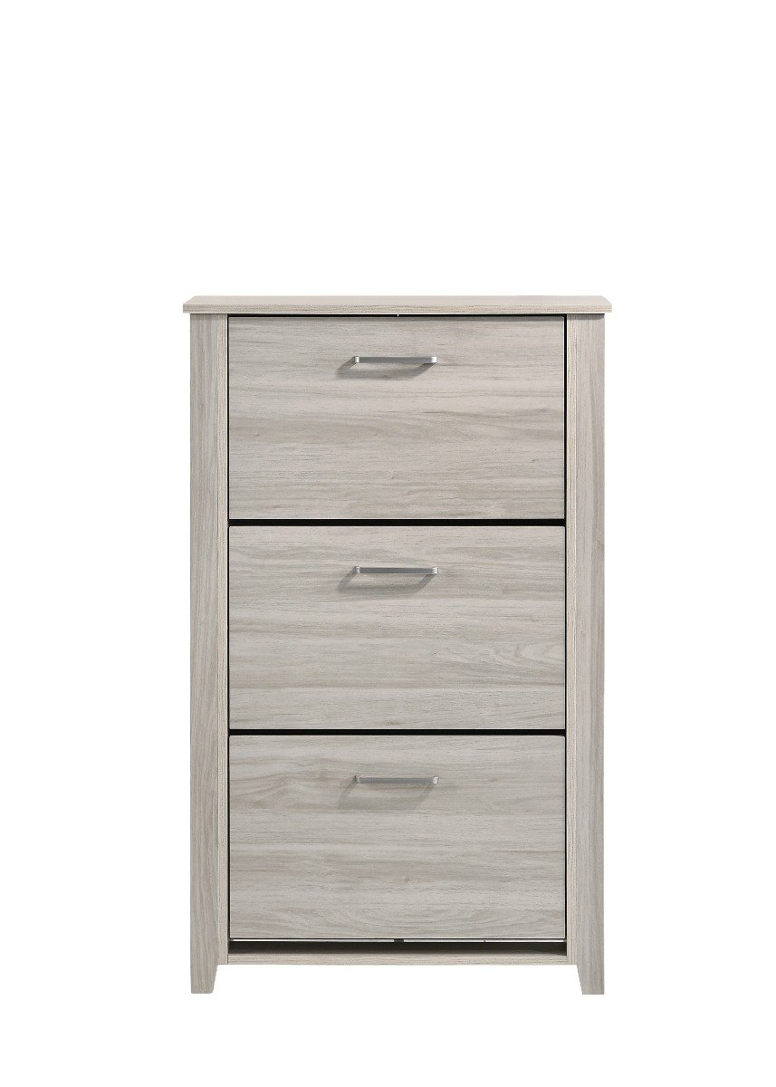 Shoe Cabinet With 3 Compartment Drawer In White Oak