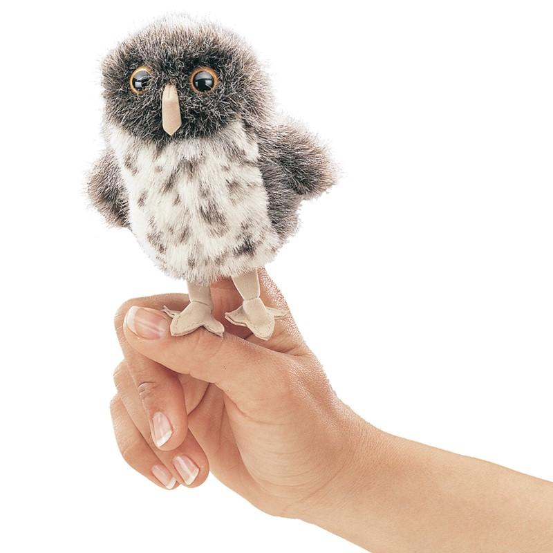 Folkmanis Mini Spot Owl Grey Finger Puppet-Cubox Australia