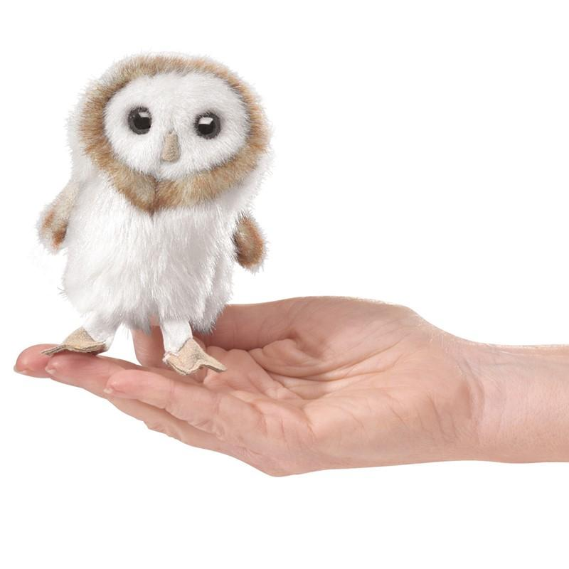 Folkmanis Mini Barn Owl White Finger Puppet-Cubox Australia