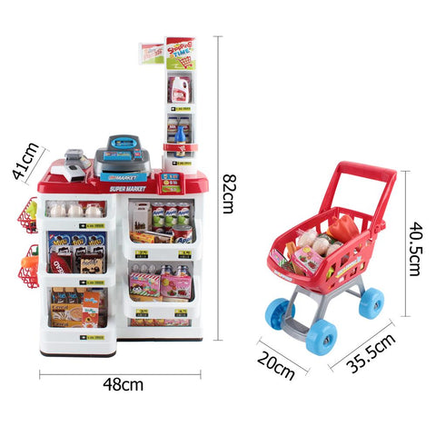 24 Piece Kids Pretend Play Super Market Toy Set - Red & White