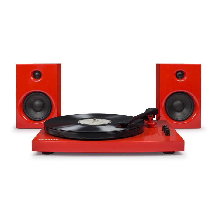 Crosley T100 Stereo Turntable with Speakers & Bluetooth - Red-Cubox Australia