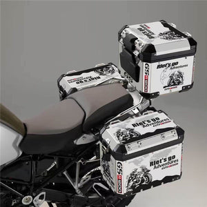 3 X R1200GS ADV Go Adventure Panniers Top Box Reflective White Decal Sticker Set