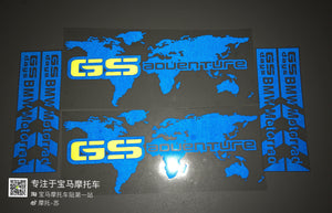 R1200GS Adventure Blue Reflective World Map Pannier Sticker Decal BMW Motorrad