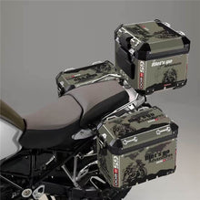 R1200GS ADV LC Let's Go Adventure Army Green Graphic Design Rider Pannier Case Top Box Reflective Decal Sticker Set