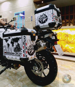 3 x F800GS F700 F650GS ADV One World One GS Reflective Pannier Box Sticker Decal