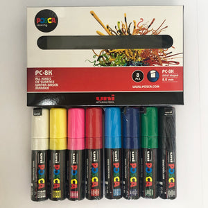 MARKER UNI POSCA PC8K CHISEL ASSORTED PACK OF 8