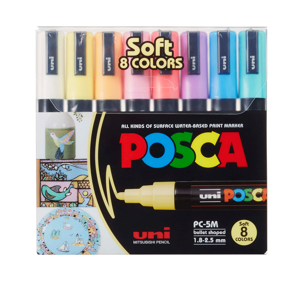 MARKER UNI POSCA PC5M PACK OF 8 SOFT COLOURS