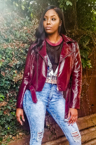 Burgundy high waisted faux leather leggings