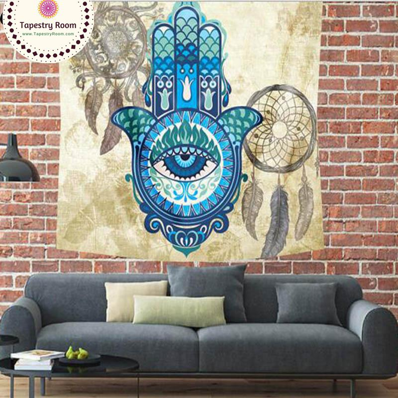 Blue Turquoise Hasma Hand Dream Catcher Wall Tapestry - 5x5ft - Tapestry Room
