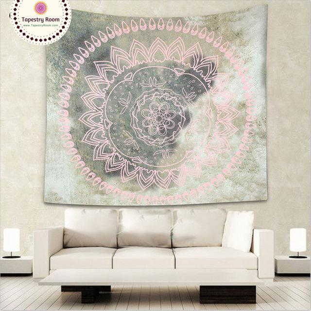 Pink and Silver Mandala Wall Tapestry - 5x5ft or 5x7ft
