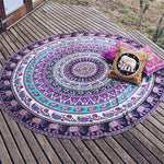 Purple Elephant Animal Mandala Wall Tapestry - 5x5ft - Tapestry Room