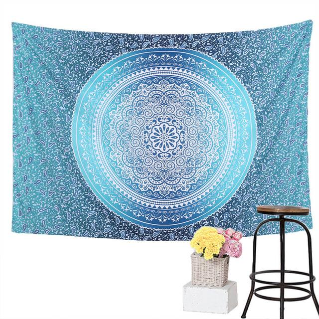 Blue Crystal Mandala Wall Tapestry 7x5ft - Tapestry Room