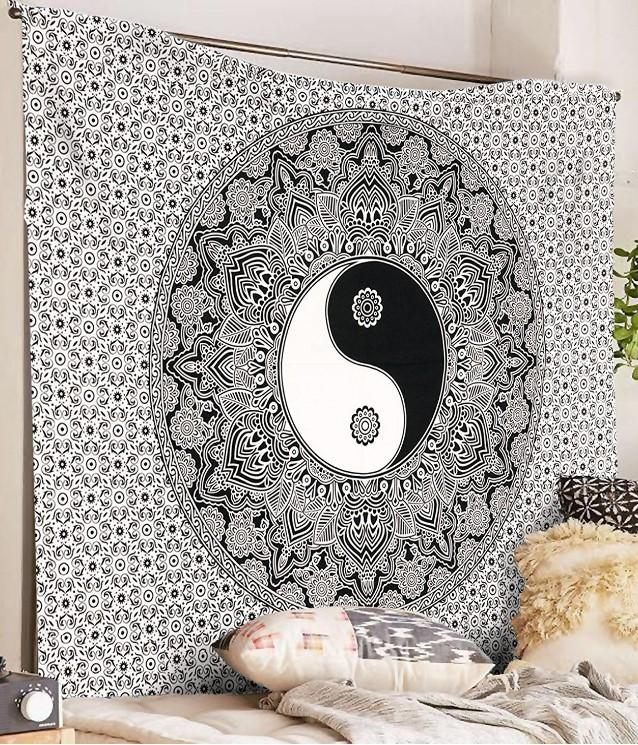 YinYang Mandala Wall Tapestry 7x5ft - Tapestry Room
