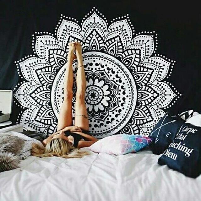 White Lotus Mandala Wall Tapestry - 5x5ft - Tapestry Room