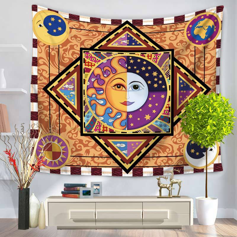 Radiant Sun and Moon Bohemian Wall Tapestry 7x5 foot - Tapestry Room
