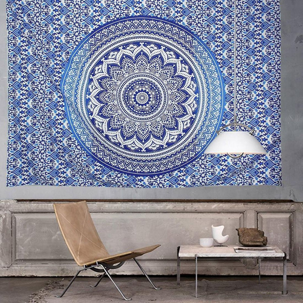 Blue Woven Mandala Wall Tapestry - 5x5ft - Tapestry Room