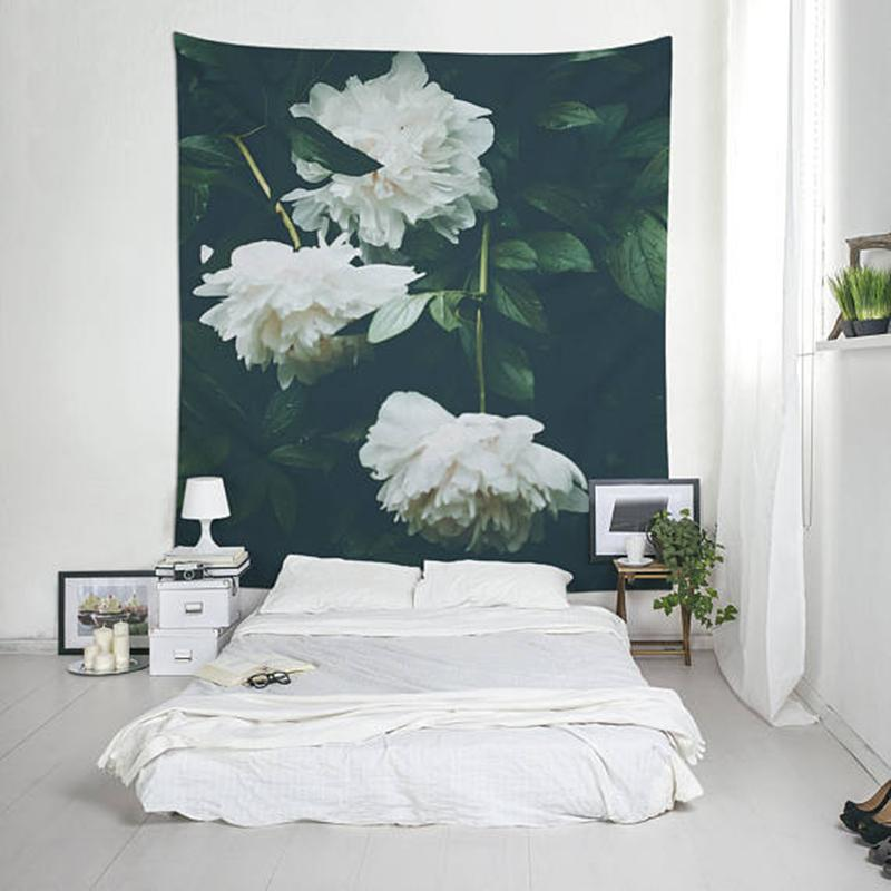 White Flower on Green Wall Tapestry - 5x7ft