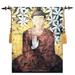 Embroidered Classical Buddha Flower Woven Wall Tapestry - 4x5ft - Tapestry Room