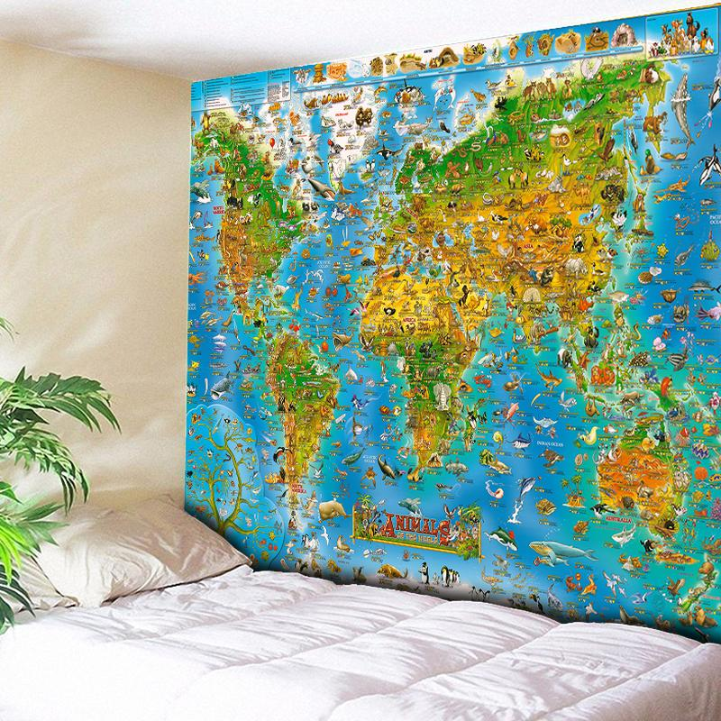 Animal World Map Wall Tapestry - 2 size choices - Tapestry Room