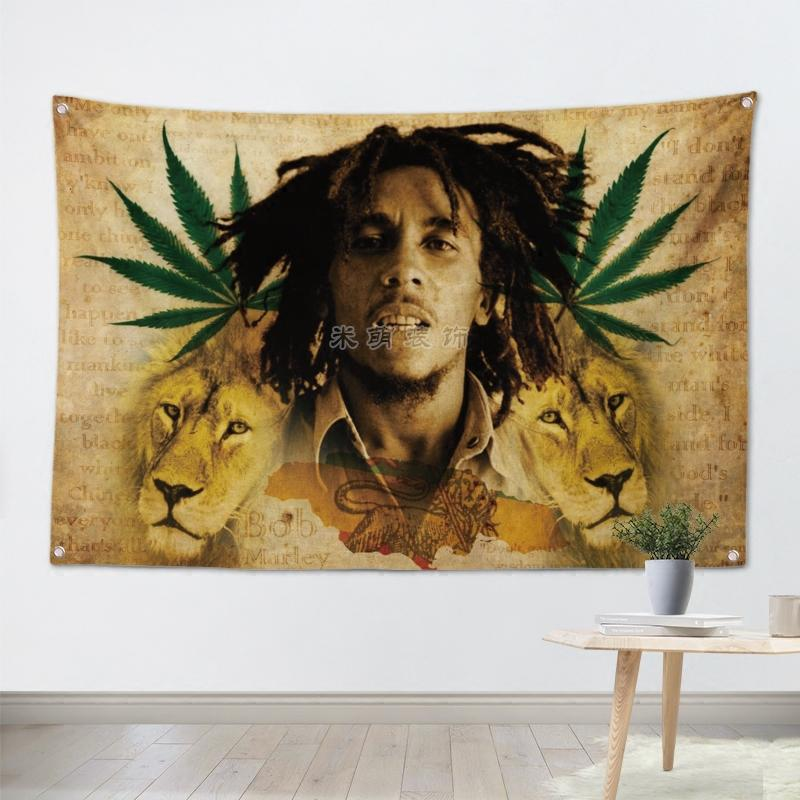 Bob Marley Lion Heart Wall Tapestry - 4.25x6.25ft - Tapestry Room
