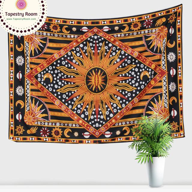 Sun Nature Mandala Wall Tapestry - 7x5ft - Tapestry Room
