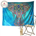Bohemian Turquoise Elephant Wall Tapestry 5x5ft