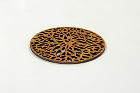 Wooden coasters (Set of 6) - Abstract tree pattern