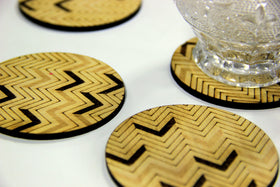 Wooden coasters (Set of 6) - Chevron pattern