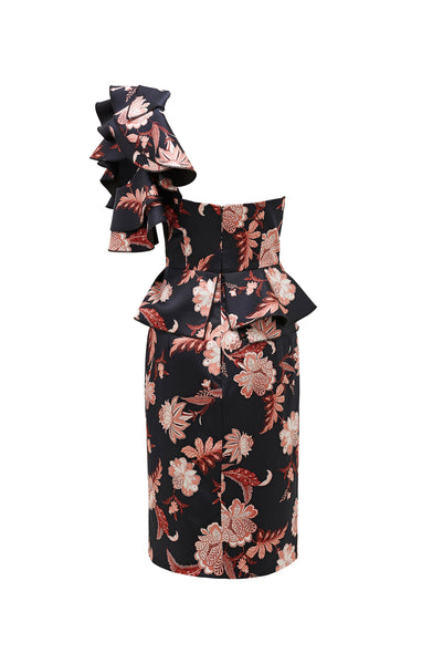 FOLKLORE PRINT ONE SHOULDER DRESS