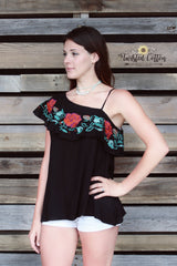 Fiesta Rose One Shoulder top